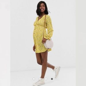 ASOS Maternity yellow floral dress & scrunchie